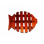 Base wooden plate with fish design
