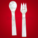 Patchy Diamond design White Fork and Spoon Set
