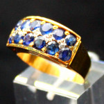 Sapphire faceted Diamond with Gold Ring