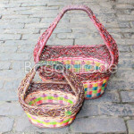 Small size Oval shape Colorful design Cane Basket
