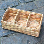 Cane basket with Three Partitions