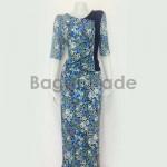 One Set Design of Blue Color Myanmar Dress
