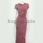 Red Color Design of Short Sleeved Myanmar Dress