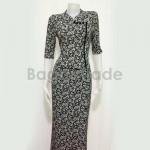 Middle Sleeve of Myanmar Dress Black Color Design
