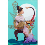 Myanmar Lady with Myanmar Harp