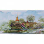 Pagoda and Monastery beside the riverbank by Artist Win Min Mg