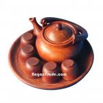 The Wooden of Tea Pot set made in Myanmar