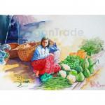 A Vendor Sells Vegetables at a Market
