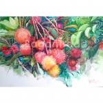 Juicy Rambutan Fruit Watercolor Painting