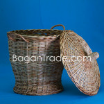 Rattan Basket with Lid and handle from Myanmar